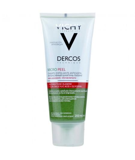 Vichy Dercos Champú Exfoliante Anticaspa Micro Peel, 200 ml